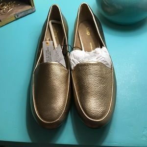 GAP metallic gold leather loafers